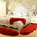 AOIPO Kunstfell Nachahmung Wolle Teppich Stilvolle Seidige Fell Matte Spitzenqualität Schaffell Bettvorleger Wohnzimmer Schlafzimmer Kinderzimmer,Red-100×120cm/3.2×3.9ft