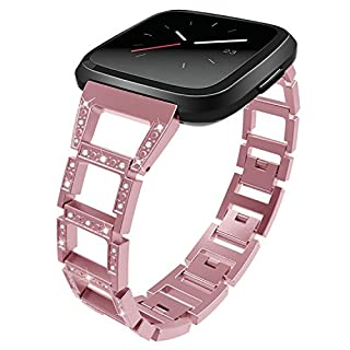 For Fitbit Versa Strap, Amcor Love Women Girls Replacement Stainless Steel Bracelet with Diamond and Unique Magnetic Clasp Accessories Bracelets for Fitbit Versa Smart Watch Fitness Rose Rosa