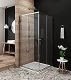 Duschkabine Eckeinstieg 80x80cm Schiebetür Duschabtrennung Glaswand für dusche Glasdusche Duschwand, Höhe 190cm,klar
