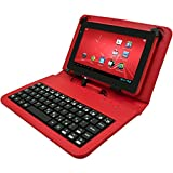 Advent Basics Micro USB Port Tablet Carry Case Cover plus Inbuilt Keyboard for 7 inch Tablets (Red)