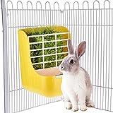 Gorgebuy 2 in 1 Futterspender mit Schraubbefestigung, Kunststoff Futternapf für Kaninchen Kleintier Nager Hamster(Gelb)