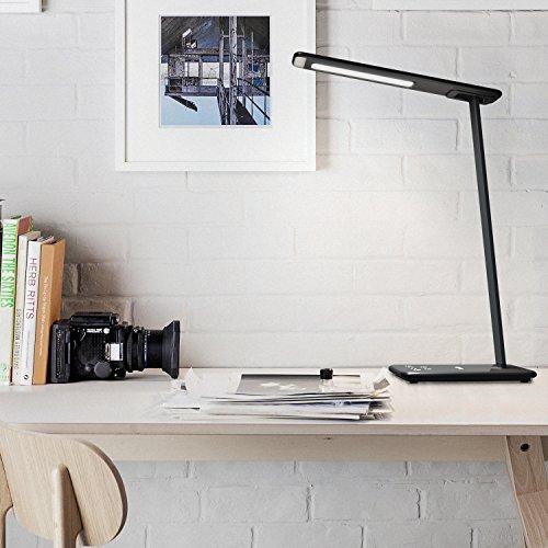 Aglaia LED Tischleuchte, 10 W Schreibtischlampe mit USB-Anschluss, dimmbar für Temperatur von Farbe und 5 Ebenen von Touch Control, 1-ORA Auto Timer, Nachtlicht für Schutz der Augen. (schwarz LT-DL1)