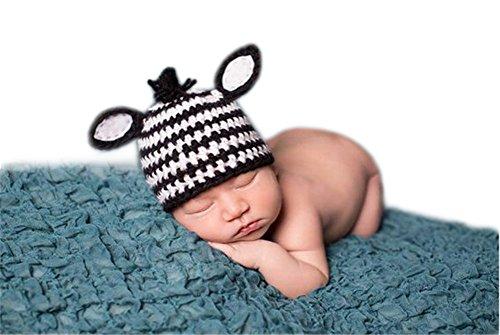 Handgefertigt Infant Newborn Baby Mädchen Boy Crochet Knit Zebra Hat Kopfschmuck Fotografie Requisiten Zebra OUTFITS (Zebra Outfit)