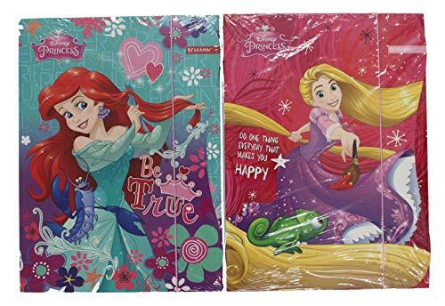 Disney 5 Stück Princess DIN A4 Mappe Set mit Gummizug Mitgebsel