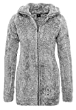 Sublevel Damen Teddy-Fleece Mantel | Kuscheliger Langer Fleecemantel mit hohem Kragen Dark-grey1 XL