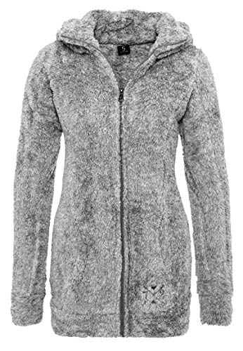 Sublevel Damen Teddy-Fleece Mantel | Kuscheliger Langer Fleecemantel mit hohem Kragen Dark-grey1 L