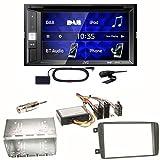 JVC KW-V255DBT USB Autoradio Touchscreen Bluetooth Moniceiver Autoradio DVD CD MP3 WMA DAB+ Digitalradio Einbauset für Mercedes C-Klasse W203 CLK W208 W209