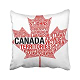 Kotdeqay Throw Pillow Cover Polyester Red Collage Maple Leaf Silhouette Canada Flag Detail Tag Cloud White Map Montreal Toronto Cushion Decorative Pillowcase Square