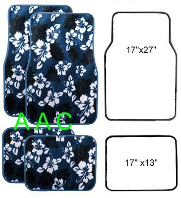 Blue Hawaiian Hawaii Aloha Print with White Hibiscus Flowers Wild Series Front & Rear Car Truck SUV Carpet Car Floor Mats - 4PC by LA Auto Gear