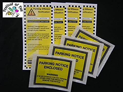 Pack of 4 Joke novelty Car Parking Offence Tickets with self adhesive windscreen wallets (4 Joke)