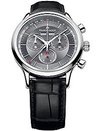 Maurice Lacroix Men's 40mm Black Calfskin Band Steel Case Swiss Quartz Grey Dial Watch LC1228-SS001-330