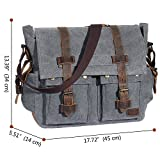 "Lifewit 15.6-17.3"" Laptop Messenger Shoulder Bag Men's Vintage Military Leather Canvas Briefcase Cross-body Bags (15.6 Grey)"