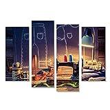 islandburner Bild Bilder auf Leinwand Alte Schneiderwerkstatt mit Nähmaschine und Tuch Wandbild Leinwandbild Poster DRM