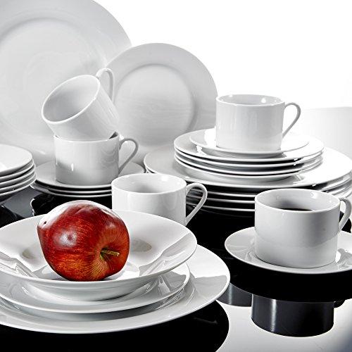 Malacasa, Série SOFIA, 30pcs Services de Table en Porcelaine, Vaisselles Couverts de Table Services à Café, 6 Tasses, 6 Sous-tasses, 6 Assiette à Dessert, 6 Assiette à Soupe, 6 Assiettes Plates Céramique