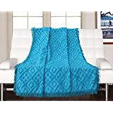 Saral Home 100% Cotton Decorative Tufted Sofa Cover-140x160 Cm, Turquoise