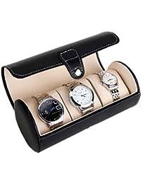Asvert 3 Slots der zylindrische Uhrenbox, Uhrenkoffer Uhrentruhe Uhrenkasten Uhrenschatulle schmuckaufbewahrung PU Leder Schmucksachespeicherkasten Uhrenbox,Schwarz