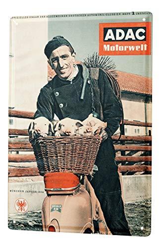 LEotiE SINCE 2004 Blechschild Dekoschild Nostalgie Nostalgie Werbeplakat ADAC Motorwelt Zeitschrift 1956 Schornsteinfeger 20x30 cm -
