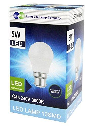 Mini-LED-Golf-Ball-Light-Bulb-Warm-White-B22-5-Watts-Pack-of-2