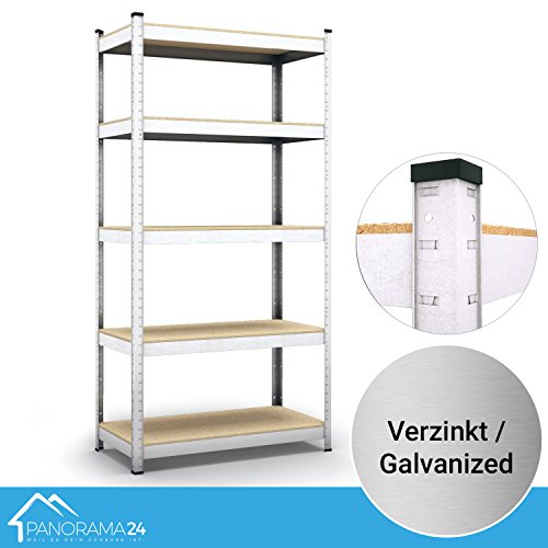 #Panorama24 Lagerregal verzinkt belastbar bis 350kg – Maße: 180 x 75 x 30 cm, Regal Kellerregal Steckregal Werkstattregal Schwerlastregal#