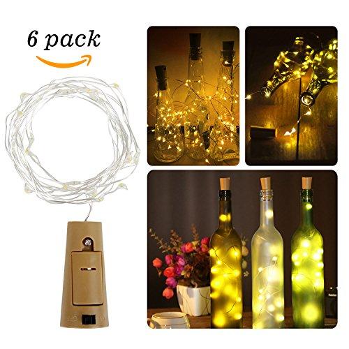 la 6-teilig 20 LED Weinflaschen Lichter Kork Flasche Mini-Lichterkette 100cm Kupferdraht Licht Flaschenbeleuchtung für Weihnachten Hochzeit und Party (Warm Weiß) ()