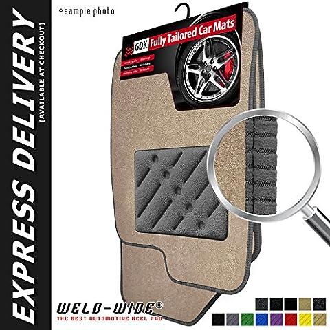 Jeep Grand Cherokee (1999-2005) Weld-Wide Exclusive Carpet Car Mats - Beige Carpet - Grey Trim - Grey Rectangle