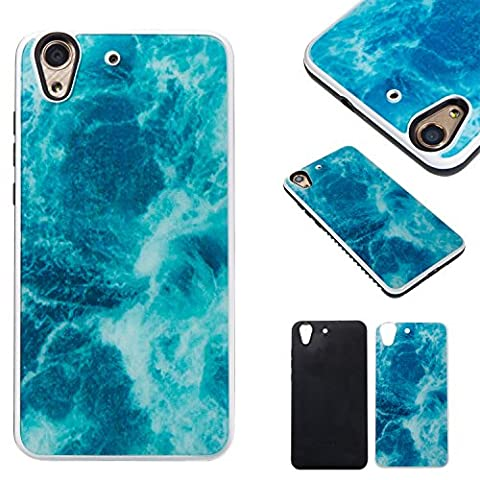 Huawei Y6 2 Schutzhülle,Huawei Y6 II PC Marmor-Hülle,Fanryn Marmor Optik Case Schutzhülle Crystal Case mit hochwertiger Marmor Optik Marmormuster Marble Design Hart PC Handy Hülle Durchsichtig Transparent Etui Cover Case Protective Shell Schutzhülle Telefon Kasten für Huawei Y6 II / Huawei Y6 2 / Huawei Honor 5A – Navy blau Marmor-Design