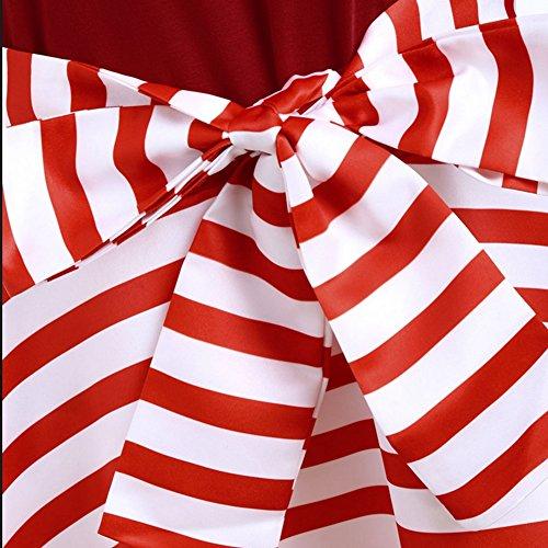 iBaste Moda Abiti Donna Scollo Barca Retro con Spalle Scoperte Vestito Taglia Larga 1/2 Manica Strisce Pieghettate Abito come mostra l'immagine