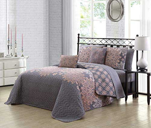 Avondale Manor Amber 9pc Reversible Quilt with Sheet Bedding Set Queen Grey/Blush (Amber Set Blush)