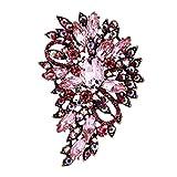 TENYE Femme Marquise Cristal Autrichien Mariage Fleur Feuille Bouquet Broche Rose Ton...