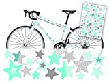 Sterne Fahrraudaufkleber Fahrradsticker für Kinder von Jabalou Sticker Aufkleber (Mint-Grau)
