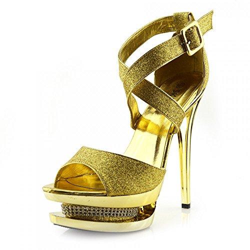 Kick Footwear - Donna Stilletto Tacco Alto Rosso Open Toe Con Diamante Decorazione Partito Sembra Piattaforma Scarpe Oro