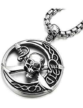 Große Kreis Piraten Schädel Anhänger, Herren Edelstahl-Halskette mit 75cm Stahl Weizen-Kette, Gotisch Biker