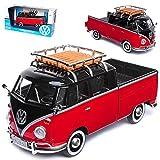 VW Volkswagen T1 Rot Schwarz mit Dachträger Pick-Up Samba Bully Bus 1950-1967 1/24 Motormax Modell Auto mit individiuellem Wunschkennzeichen