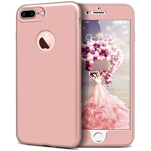 Yokata for iPhone 7 Plus Silicone Case Front and Back Full Body Protective Case for iPhone 7 Plus (5.5 inch) Gel TPU Cover Ultra Thin Rubber Bumper Lightweight Shell Flexible Back Cover Anti Fingerprint Stylish Case - Rose Gold