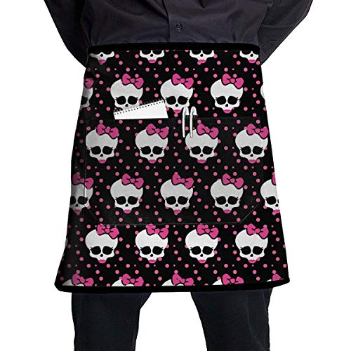 MSGDF Pink Skull Bow Red Lip Polyester Waist Apron with Pockets Adjustable Long Strap Waterproof Apron for Server Kitchen Garden Shop Or BBQ