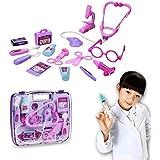 EchoAcc® Pretend & Play Estetoscopio Kit Médico Conjunto Mmédico, Juguetes y Regalo de los Niños (Rosa y Púrpura)