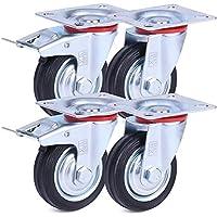 H&S® 4 x Heavy Duty 75mm Rubber Swivel Castor Wheels Trolley Furniture Caster Black