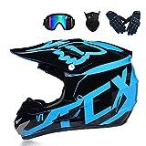 GG-helmet Motocross-Helm und Schutzbrille (5 Stück) - Schwarz und Blau - Erwachsener Offroad-Helm,...