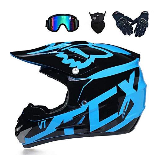 GG-helmet Motocross-Helm und Schutzbrille (5 Stück) - Schwarz und Blau - Erwachsener Offroad-Helm, Integral-MTB-Helm, Motorrad-Crosshelm für Jugendliche Männer Frauen Kinder