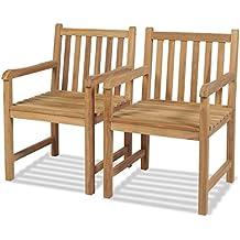 Festnight 2 Pcs Chaise De Jardin En Teck 58 X 60 90 Cm