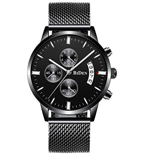 Herren Uhren Mode Wasserdichte Chronograph Quarz Uhr für Mann Top-Marke Business Kleid mit Schwarzem Edelstahlgewebe Casual Uhr