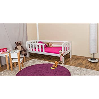 mattress 70 x 160. toddler bed a17, solid pine wood, white finish, with slats, mattress and 70 x 160