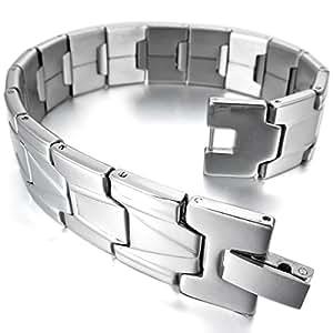 MunkiMix Acier Inoxydable Bracelet Lien Poignet Ton d'Argent Homme