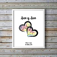 Lesbian Anniversary Gifts - Gay Wedding Presents - LGBT Pride Gift - Love is Love Poster - Rainbow