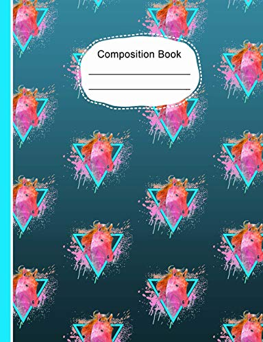 Watercolor Wallpaper Horse Head Composition Notebook: Writing Journal Book, College Ruled Lined Paper, School Teachers, Students, 200 Lined Pages (7.44