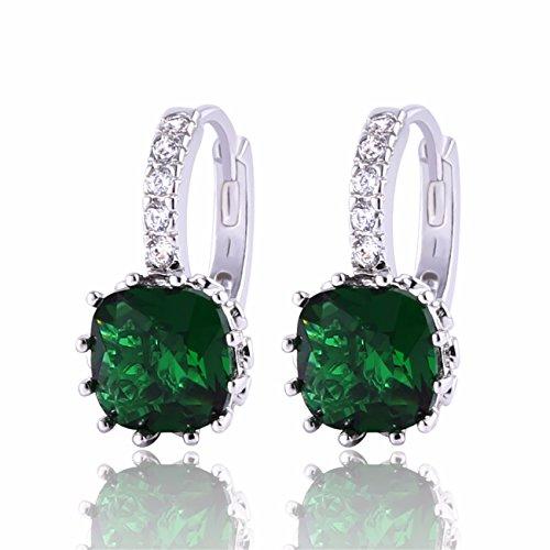 Joyas de brillantes de la señora GULICX 925 de plata de ley de espárragos verdes Color esmeralda de aro pendientes Zirconia cúbico