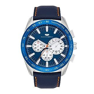 Rhodenwald-Shne-Kitano-Herrenuhr-Chronograph-Edelstahl-silberblau-5-ATM-Przisions-Quarzwerk-StoppuhrTotalisatoren-Lederarmband-blau-Quarzuhr-Echtleder-Armband-Armbanduhr-analog
