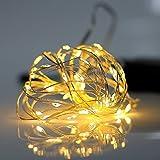 Gresonic Solar Lichtdraht 100/200er LED Lichterkette Drahtlichterkette Mikro Dekoration Beleuchtung Draht Mini Zubehör für Party Hochzeit Feiern Garten Terrasse Weihnachten Drahtleuchten (1 Packung, 100er Warmweiß)