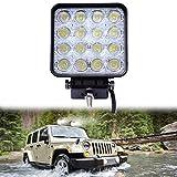 Lacyie LED Offroad Scheinwerfer, LACYIE LED 48W Scheinwerfer Arbeitsscheinwerfer 12V 24V Zusatzscheinwerfer 6000K IP67 Wasserdicht für Jeep, SUV, Truck, Traktor oder schweres Gerät (48W 1 packung)