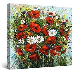 Startonight Cuadro Moderno en Lienzo - Amapolas Rojas y Margaritas Blancas - Pintura Flores para Salon Decoración 80 x 80 cm
